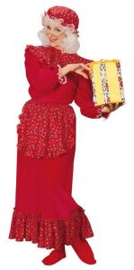 Yes, this is Mrs. Claus as you've never seen her before. Also, the patterned pieces have Christmas motives.