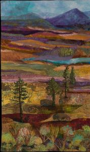 This one uses all kinds of fabric for a painting effect. Not sure about the lone trees standing.