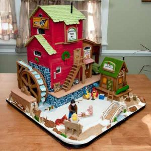 Yes, this is another mill gingerbread house. But this one is more in tune with the holiday season.