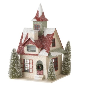 This one has a snow covered roof and evergreens in the corners. Love the wreath on the front door.
