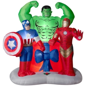 This inflatable has Captain America, the Hulk, And Iron Man. And they surround a large present. Guess they all pitched in to get something for Black Widow.