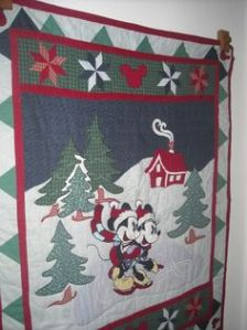 This one has Mickey and Minnie in the snow. And the quilt is used for display mostly.
