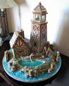 Well, it's surely in a seafaring style. It even has a mermaid at the lake with presents.