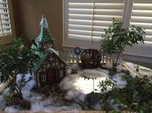 This one also includes snow covered church as well as a wreath. All in all, lovely.