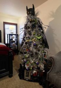 This one has the Batman cowl on it with other decorations. All in all, it's an intimidating tree.
