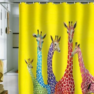 No, this isn't an acid trip. It's a real shower curtain depicting neon giraffes. I'm sure if they were on the Savannah, you'd be able to see them from miles away.