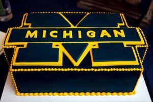 This one has the Michigan logo in brilliant navy blue. I'm sure Wolverine fans would go blue for this.