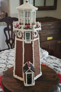 This one has Christmas decorations near the top. Still, lighthouses are usually not brown for good reason.