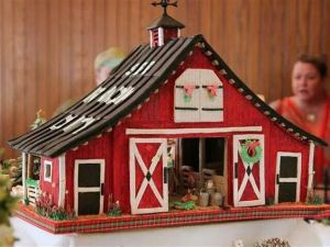 This one has some Christmas decorations. Though barns in real life usually have none if they're used to keep animals.