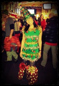 Yes, Christmas trees are lovely things to look at. Dressing up like one, not so much.