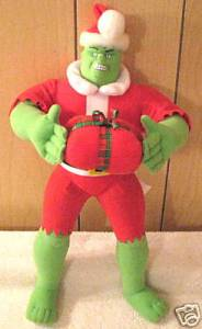 No wonder he just destroyed his Santa suit. But he's holding a present. Might want to stay away from this Hulk Santa.