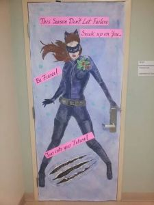 Another door decoration for a school. Here Catwoman has holly on her shoulder.