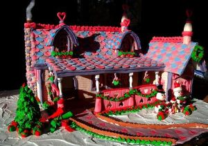This one has tiles of pink, purple, and blue. Still, love the hearts and decorations.