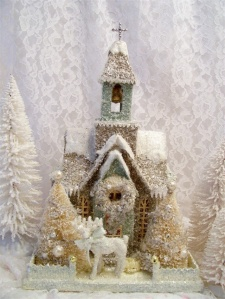 This one even has gold wreath and trees. Still, like the top beaded cross on this one.