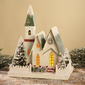 This one has a warm glow through the windows. And it doesn't use a lot of snow on the roofs.