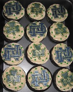 These have the Notre Dame logo and shamrocks. Great for football season and Saint Patrick's Day.