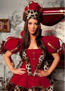 This is supposed to be a Christmas costume and surely looks like it. But the leopard print trim doesn't do it for me.