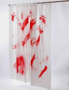 Yes, it's a bloody shower curtain you'd expect to find in a serial killer's bathroom. Sure to freak out your guests and make a great Halloween decoration. Also helps with constipation.