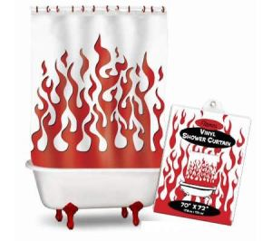 Relax, it's just a shower curtain with red flames. But where I live, it might make people think your water supply has been fracked.