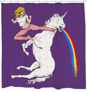 The unicorn can even puke a rainbow, too. Imagine that. Still, hilarious.