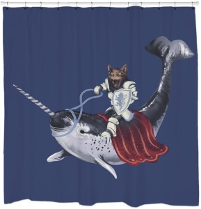 I guess he rides in the water without a breathing apparatus. Still love how the cat has a bridal and saddle on the narwhal.