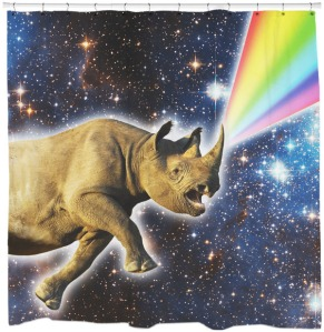 Okay, rhino horns may not sprout rainbows in the cosmos. But this is just too funny to miss. Love it.
