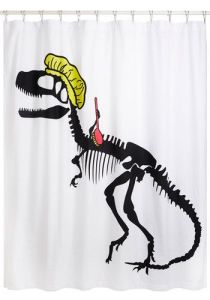 Not sure what to think about the T-Rex skeleton in the shower. But at least it can scrub its back.