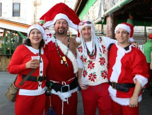 From what I can tell, I see a pirate Santa, a reggae Santa, and a disheveled Santa. I know it's hard to explain but what do you know?