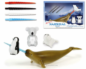 "According the the product description, ""The narwhal is an arctic-dwelling whale that has been called ""the unicorn of the sea"" due to its long pointy tusk. There is debate about the true purpose of this tusk, but finally the truth is revealed! The narwhal uses its tusk to impale the cute animals of the world, specifically baby seals, baby penguins and koalas."" Includes 4 magical tusks and 3 adorable animals to impale. Not sure the koala and baby penguin is included since they usually live in the Canadian Arctic. Besides, it's only the males sport the iconic tusks."