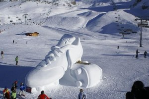 Well, tennis shoes aren't great for snowy weather. But these certainly take the cake in sculpture.