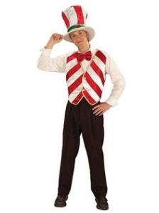 He even has his own candy cane hat and red bowtie. His candy cane vest is also in white and red stripes.