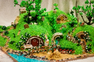 For those who don't know, the Shire is where the Hobbits live in their little Hobbit holes. And yes, there is a gingerbread village of these.
