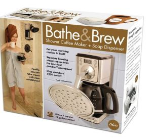 Now you can get your morning shower and your coffee at the same time. By the way, it's actually not a real product.
