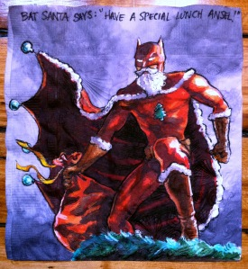 Here we have him in a muscular red suit with fur trim. Yes, Batsanta knows how to make an entrance.