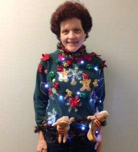 Not sure about having the plush gingerbread men hanging. But they enhance the sweater's ridiculousness.