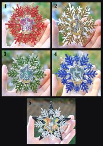 Each one is the color of a Hogwarts House. Hogwarts snowflake is the exception since it represents the whole school.
