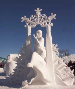 Well, an ice sculpture would be more like it. But a snow sculpture is good enough.