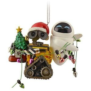 This one has WALL-E holding the Christmas tree and EVE holding the lights. Still, so cute.