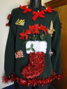 Though the poinsettias are clearly plastic. And everything all this is in sheer tackiness.