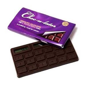It's a calculator that resembles a bar of chocolate. I'm sure this gift will spell disappointment for many.