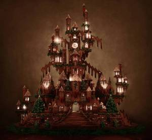 This gingerbread castle even has lights coming through the windows. Like how it's in a rather whimsical style.