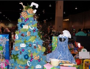 This one is blue with cookies, spoons, baubles, and letters. Hope the cookies aren't real or you know what Cookie will do to them.