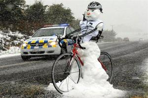 Here he's in with a bike jacket and helmet. Wonder how he puts the pedal to the metal with his snow legs.
