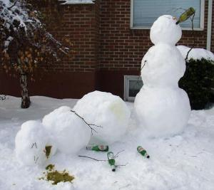 Look, a drunken snowman may be funny. But a drunk person passed out like that isn't. If your see someone like this, you might want to consider calling 911.