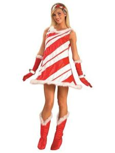 That's because she's dressed like a candy cane. You know the red and white stripes scheme.
