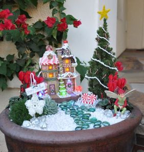 And it's an especially colorful gingerbread house, too. The candy cane bench is perfect.