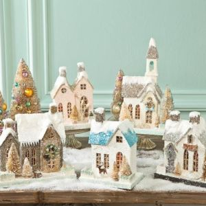 Yes, these all have glitter on the roofs to give an impression of snow and ice. And yes, they're all in a vintage style.