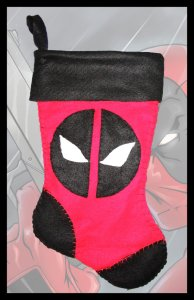 This one has Deadpool's face with black trim. I'm sure Deadpool would want this for his own fireplace this Christmas.