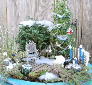 This one also has blue star signs like the last one. But this garden includes snow and a lawn chair.