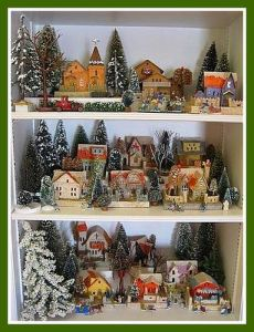And yet, another Christmas village arrangement that seems a bit crowded. But I have to love the trees in the background.